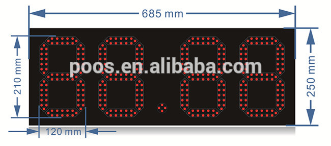 Special Design Morocco 8'' Single Red 888.8 Digital Gas Price Sign