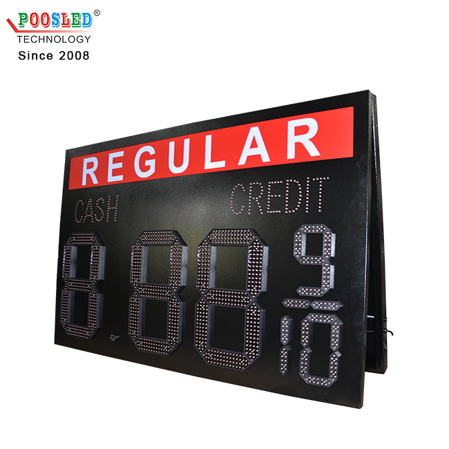 Hot Sale America 12''+6'' Waterproof Red 7 Segment 8.88 9/10 Gas Price Led Sign