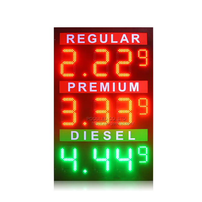 New Design 12''+6'' Outdoor Waterproof 8.88 9 Led Gas Price Board