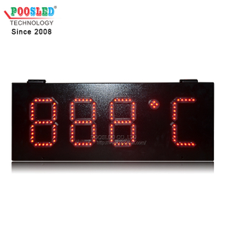 IP53 Outdoor Using Iron Cabinet 6 Inch LED Time & Temperature Sign Wireless Control