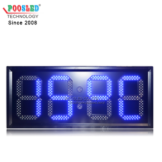 Outdoor Aluminum Frame Blue LED Clock Sign Automatic Brightness Adjustment